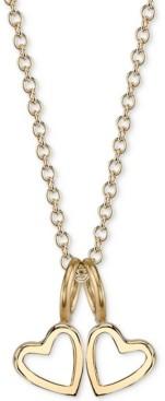 "Sarah Chloe Double Heart Charms Pendant Necklace, 16"" + 2"" extender"