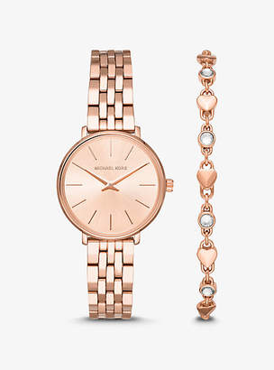 Michael Kors Mini Pyper Rose Gold-Tone Watch And Heart Link Bracelet Set