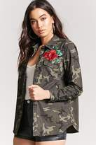 Forever 21 Embroidered Rose Camo Jacket