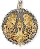 Konstantino Gemini Carved Zodiac Pendant with Diamond