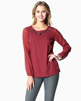 Charming charlie Beaded Neck Blouse