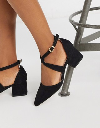Miss KG claire pointed mid block heels in black with ankle strap