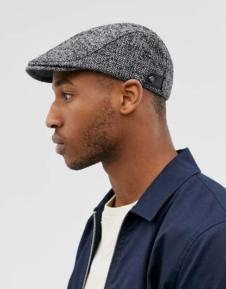 Ted Baker Neville textured herringbone wool flat cap in gray