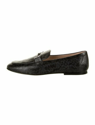 Tod's Leather Animal Print Loafers Black