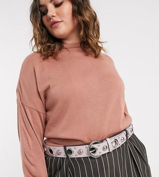 ASOS DESIGN Curve multi eyelet and stud jeans belt in lilac