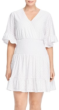 MICHAEL Michael Kors Smocked-Waist Eyelet Dress
