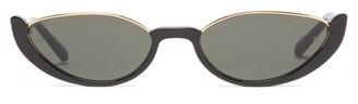 Linda Farrow Robyn Half-rim Cat-eye Acetate Sunglasses - Black