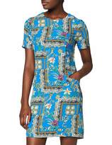Yumi Blue Flower Scarf Print Tunic Dress