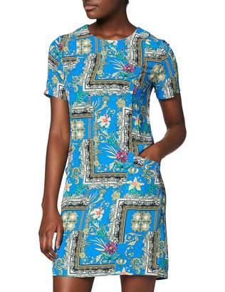 Yumi Blue Flower Scarf Print Tunic Dress