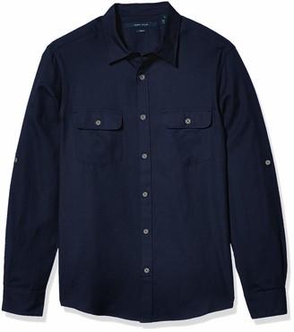 Perry Ellis Men's Slim Solid Twill Untucked Shirt