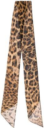 Saint Laurent Leopard-Print Silk-Chiffon Scarf