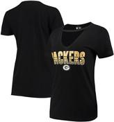 New Era Women's Black Green Bay Packers Gradient Glitter Choker V-Neck T-Shirt