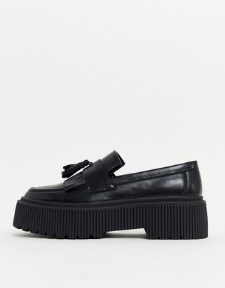 ASOS DESIGN loafers in black faux leather with chunky sole and tassel