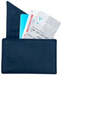 Holly & Tanager Insider Leather Card Holder Wallet In Navy