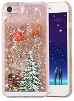 "iPhone 6S Case,iPhone 6 6S Liquid Cover,PHEZEN Christmas Tree Santa Claus Design Cool Quicksand Moving Stars Bling Glitter Floating Dynamic Flowing Clear Hard Case For iPhone 6/6S 4.7"" - Gold"