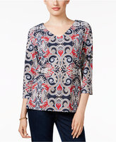 Charter Club Petite Printed V-Neck Top, Only at Macy's