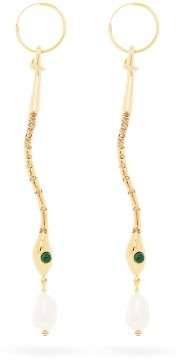 Chloé Crystal-embellished Snake Drop Earrings - Gold