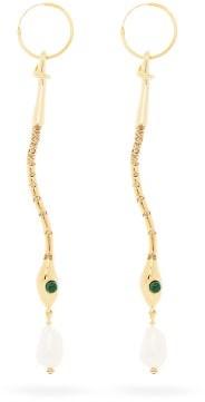 Chloé Crystal-embellished Snake Drop Earrings - Womens - Gold