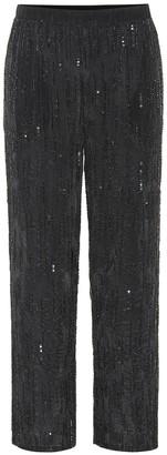 Velvet Sequined wide-leg pants