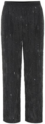 Velvet Wide-leg sequinned pants