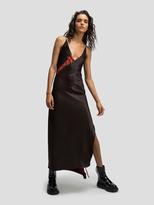 DKNY V-Neck Dress With Lace Up Detail
