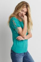 American Eagle Outfitters AE Lace-Up Sleeve T-Shirt