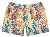 River Island Mens Orange palm tree print swim shorts