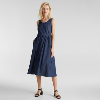 Esprit Denim Sleeveless Midi Dress with Belt