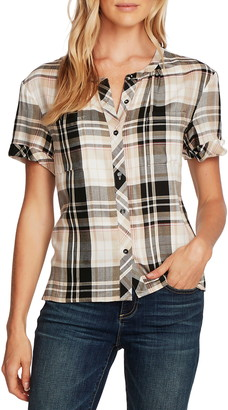 Vince Camuto Roll Cuff Plaid Shirt