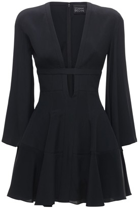 Giovanni Bedin Deep V Neck Silk Crepe Mini Dress