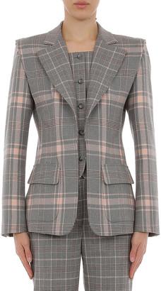 Alberta Ferretti Tartan Wool Blazer With Inset Vest