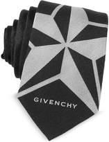 Givenchy Black Silk Narrow Tie w/Silver Woven Star