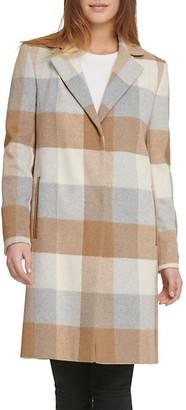 DKNY Plaid Wool-Blend Coat