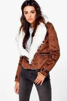 boohoo Emma Suedette Biker With Faux Fur Lining