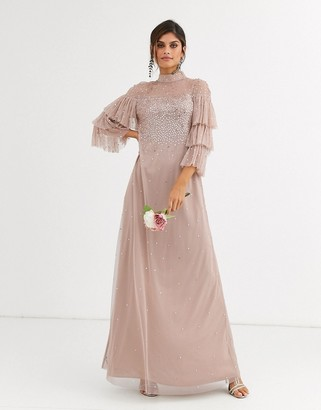 Maya Bridesmaid delicate sequin tulle maxi dress in taupe blush-Brown