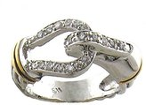 Sterling Silver Two-Tone Hook Lock Cubic Zirconia Ring