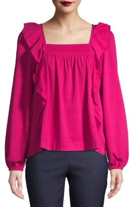 Time and Tru Womens Square Neck Ruffle Top