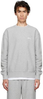 Stussy Grey Stock Logo Sweatshirt