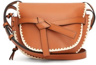 Loewe Gate Small Crochet-trim Leather Cross-body Bag - Womens - Tan Multi