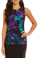 Ellen Tracy Abstract Floral Printed Georgette Pleat Neck Shell