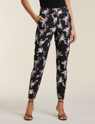 Forever New Kellie High-Waist Printed Pants - Soft Black Tropical - 4