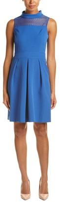 Anne Klein Women's Sleeveless Cowl Neck Lace Yoke Seamed Fit & Flare Dress