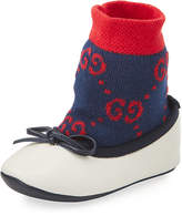 Gucci Leather Ballet Flats w/ Attached GG Sock, Baby
