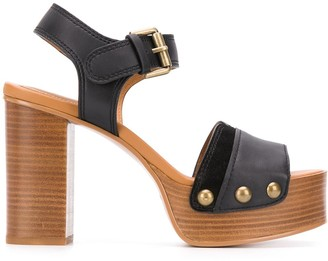 See by Chloe Chunky-Heel Rivetted Sandals