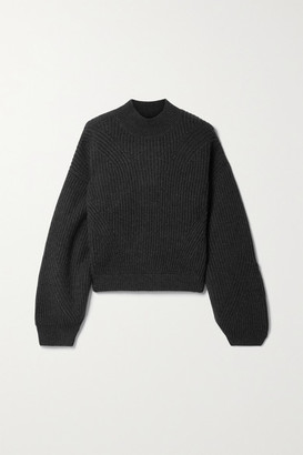 Le Kasha Merida Open-back Ribbed Cashmere Sweater - Charcoal