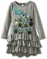 Kate Mack Strike A Pose Ruffle Dress (Big Kids) (Grey) - Apparel