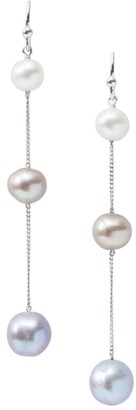 Chan Luu Sterling Silver & 6-10.5MM Mixed-Pearl Linear Drop Earrings