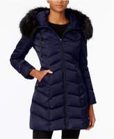 T Tahari Faux-Fur-Trim Down Puffer Coat