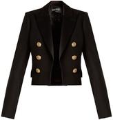 Balmain Satin-lapel cropped wool jacket