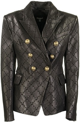 Balmain Diamond Jacket Black Leather Blazer With Diamond-shaped Stitching